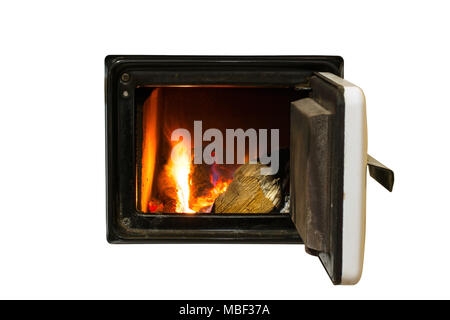 Firebox with a hardwood log laid inside a furnace. Flames and an ember in a blurry background. Selective focus. Isolated on white background. - Stock Image