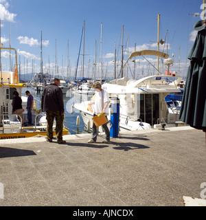 Boats and boaters, Marina Bay, Gibraltar - Stock Image