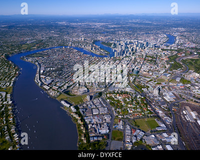 Aerial view of New Farm and Teneriffe Brisbane Australia - Stock Image