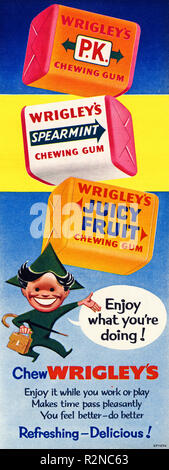 Original 1950s vintage old print advertisement from English magazine advertising Wrigley's chewing gum circa 1954 - Stock Image