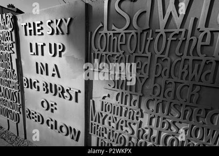 Carved stones of black country quotations in Bilston West midlands - Stock Image