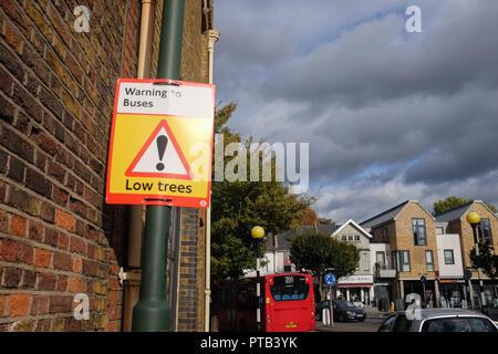 Low Trees warning sign for buses at Barnes Mortlake London UK Photograph taken by Simon Dack - Stock Image