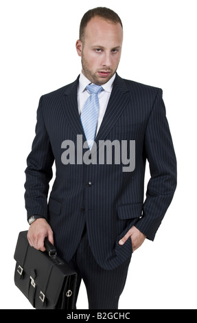 businessperson with bag on isolated background - Stock Image