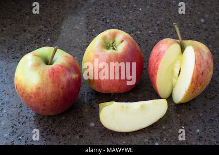 Ripe apples ready to eat in winter. Variety Rubens - Stock Image