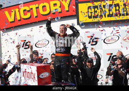 Ryan Preece wins Xfinity Race, Iowa Speedway 2017. Victory circle celebration NASCAR WInner - Stock Image
