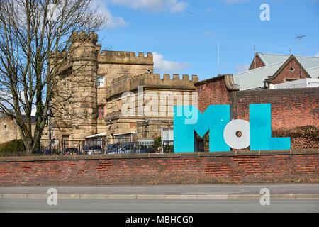 Museum of Lancashire logo with the courthouse in which it's hosted in the background. The museum has been closed since 2016. - Stock Image
