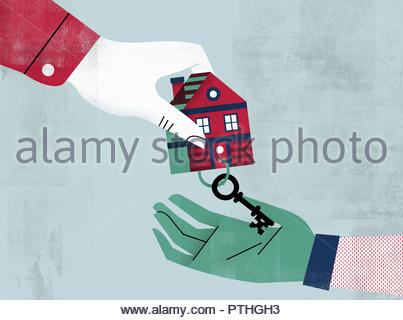 Hands exchanging house key and key ring - Stock Image