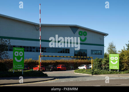 Exterior of the AO logistics warehouse on Weston Road Crewe Cheshire UK - Stock Image