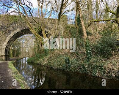 Canal passing under a bridge - Stock Image