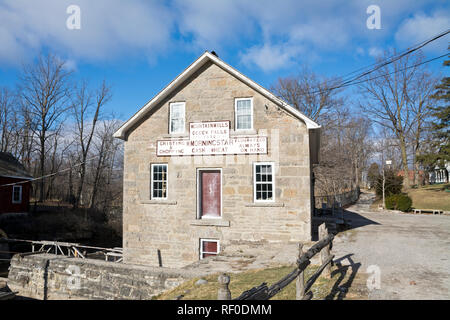 Historic Morningstar Mill in St. Catharines, Ontario, in the Winter. - Stock Image