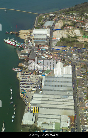 Aerial view of East Cowes on the Isle of Wight featuring the ferry terminal, boat yards & the Floating Bridge - Stock Image