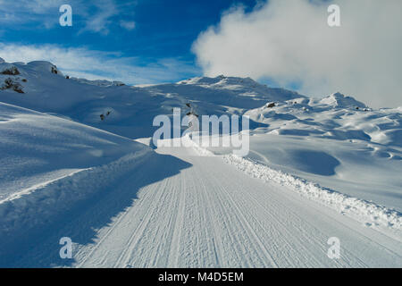 Snow trail - Stock Image