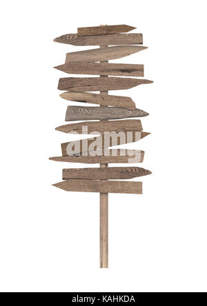 large blank wooden directional beach sign on pole, isolated on white background - Stock Image