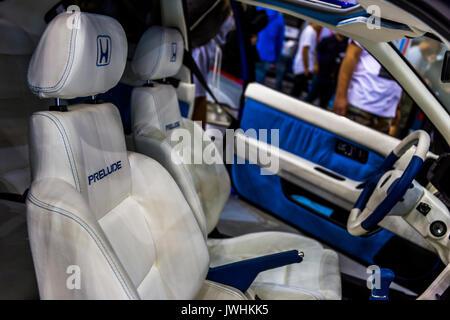 Bielsko-Biala, Poland. 12th Aug, 2017. International automotive trade fairs - MotoShow Bielsko-Biala. Inside view of a modified Honda Prelude car. Credit: Lukasz Obermann/Alamy Live News - Stock Image