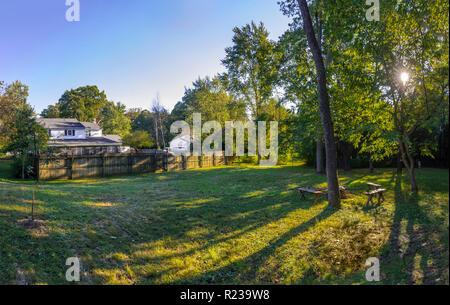 Quiet Backyard Scene With Sunlight Through The Trees, Pennsylvania USA - Stock Image