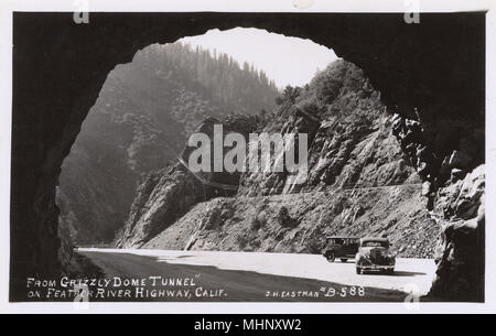 Grizzly Dome Tunnel, Feather River Highway (State Route 70), Plumas County, California, USA.      Date: 1937 - Stock Image