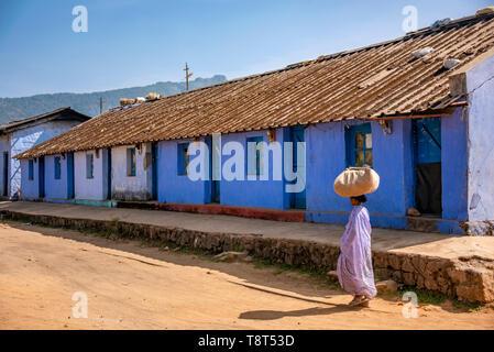 Horizontal view of tea plantation village in Munnar, India. - Stock Image
