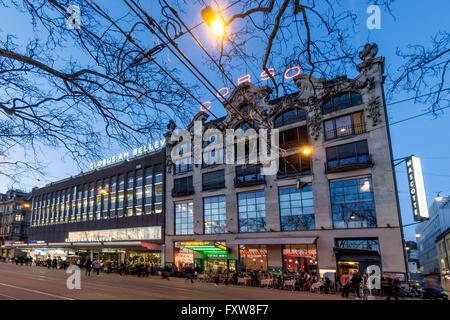 Corso Cinema, Globus, Bellevue, Twilight,  Zurich , Switzerland - Stock Image