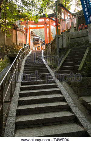 Stone steps leading up to traditional Japanese torii gates painted in a vermilion red-orange color that is associated with the soul of Inari Okami and - Stock Image