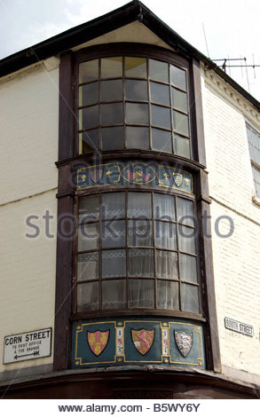 Heraldic shields on building in Leominster Herefordshire - Stock Image