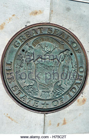 Great Seal of the State of Idaho - State Capitol building, in Boise, Idaho, USA. - Stock Image