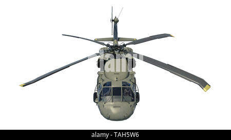 Helicopter in flight, military aircraft, army chopper isolated on white background, front top view, 3D rendering - Stock Image