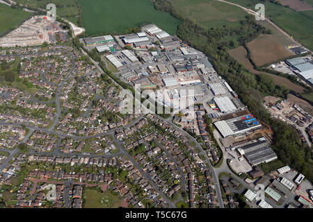 aerial view of Radnor Park Industrial Estate, Congleton, Cheshire - Stock Image