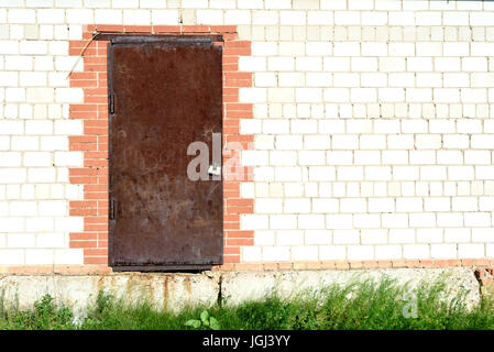Old rusty metal door with aged brick wall and wild green grass growing. Copy space area for security home DIY based - Stock Image