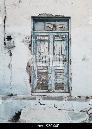 Old wooden door, Greek islands - Stock Image