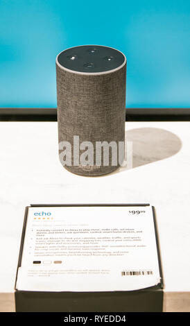 New York, 3/4/2019: Amazon Echo stands on display at Amazon Books store in Manhattan. - Stock Image