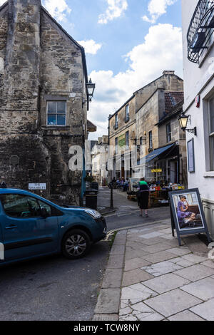 A view from the east down the narrow pedestrian street called the Shambles in the Wiltshire town of Bradford on Avon - Stock Image