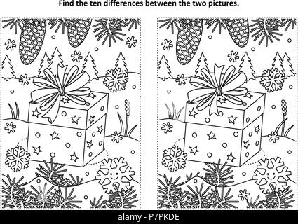 Winter holidays themed find the ten differences picture puzzle and coloring page with gift or present - Stock Image