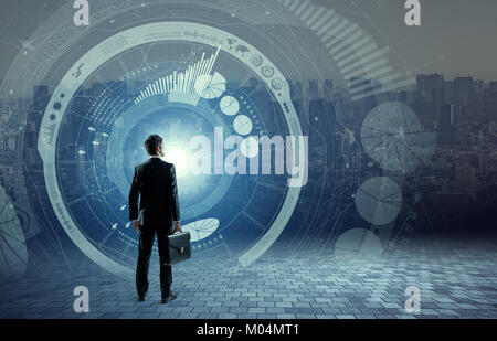 business person back view and futuristic interface, smart city, internet of things, information communication technology, - Stock Image