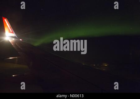 Norway. 10th February, 2016. Northern light photographed from a Norwegian airplane on its way from Oslo to Bardufoss, - Stock Image