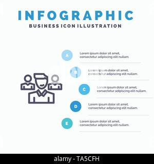 Team, User, Manager, Squad Line icon with 5 steps presentation infographics Background - Stock Image
