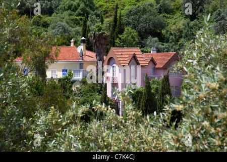 Portugal, Algarve, Caldas De Monchique, View over Village - Stock Image