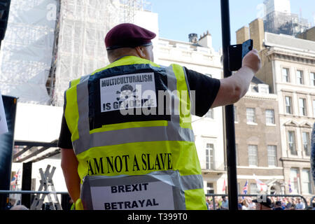 Yellow vests UK, joined a pro brexit protest in central London - Stock Image