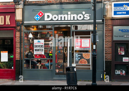 Exterior Of A Dominos Pizza Fast Food Shop - Stock Image