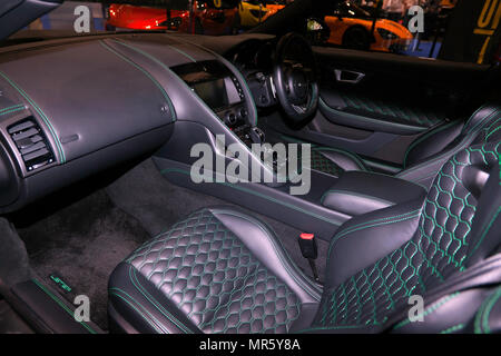 Bridge of Weir Nappa leather interior  of the Listrer Thunder, on display at the 2018 London Motor   Show - Stock Image