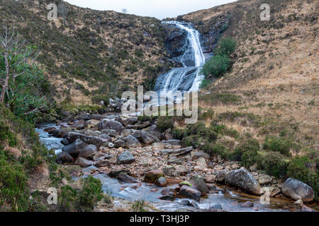 Blackhill Waterfall (or Eas a' Bhradain Waterfall) on Allt Coire nam Bruadaram river on Isle of Skye, Highland Region, Scotland, UK - Stock Image