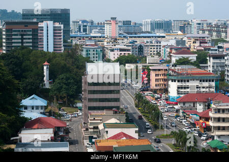 City centre streetscape from Signal Hill, looking south beyond the Atkinson Clock Tower. Kota Kinabalu, Sabah, Malaysian Borneo - Stock Image