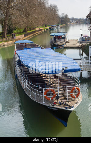 Salters Steamers moored by Folly Bridge on the Thames at Oxford - Stock Image