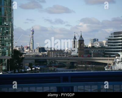 View from Tower Bridge looking towards London Bridge with Post Office in the background - Stock Image