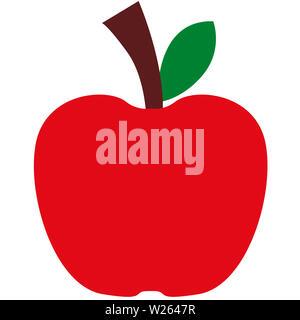 red apple  fruit nature fresh leaf juicy nutrition illustration - Stock Image