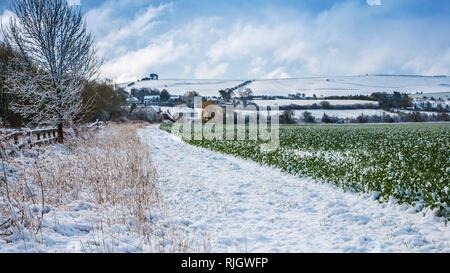 Winter view towards Liddington Hill near Swindon, Wiltshire - Stock Image