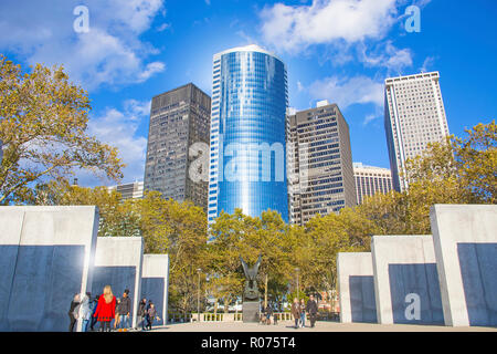 The World War II East Coast Memorial Battery Monuments at Battery Park in New York City. - Stock Image