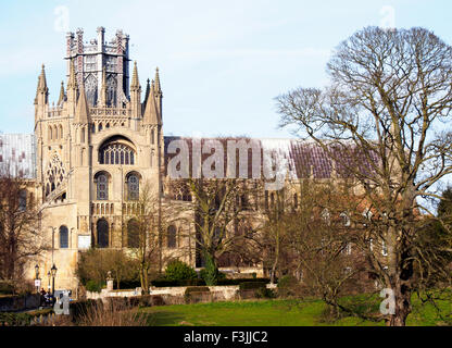 The famous lantern on top of the Octagon, and East end of Ely Cathedral in Cambridgeshire, England, UK. Viewed from - Stock Image