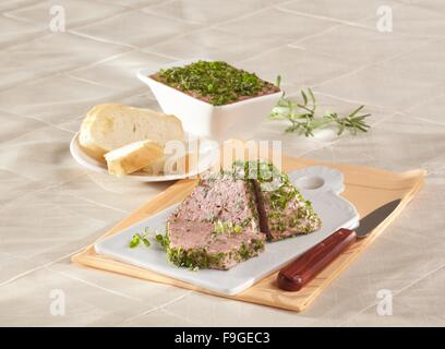 Liver paté in herbs - Stock Image