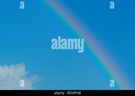 Rainbow on the Lleyn Peninsula, seen from Cim, near Abersoch, Gwynedd, Wales - Stock Image