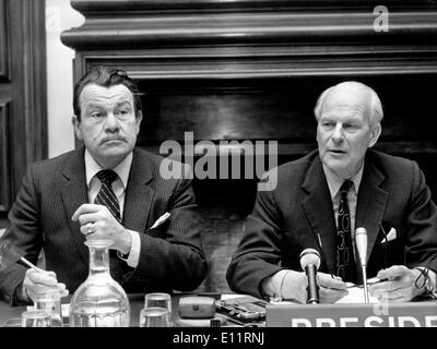 Jan 05, 1980; Paris, France; During a press conference in Paris, the President of the Parlamentary Assembly of the Eurpean Council, announced that the situation in Afghanistan at the winter session of the Parlamentary Assembly of the European Council in Strasbourg. The picture shows Mr. HANS J. DE KOSTER (R) and French Representant JACQUES BAUMEL, during the press conference. - Stock Image